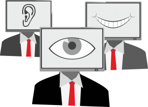 illustration of people with the heads as tv screens, one with an eye, one with an ear and one with a mouth