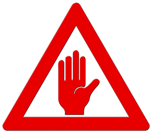sign of a red hand in a red triangles