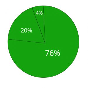 green pie chart with the numbers 76%, 20%, and 4% divided into it