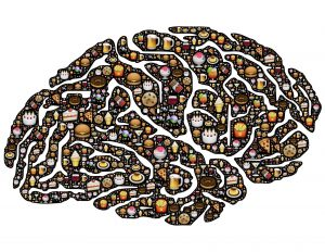 illustration of a brain filled with different foods all over