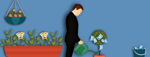 illustration of a man in a business suit watering a plant with money as leaves
