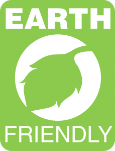 green leaf in the middle with words earth friendly around it