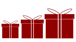 three red gift boxes in different sizes