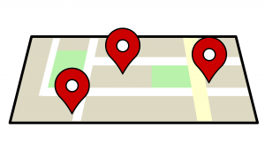 three location icons placed on a map.