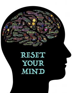 silhouette of a head with the words reset your minf anf the brain part filled with many words.