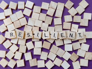 resilient spelled out on scrabble blocks