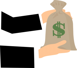 illustration of hands in a suit holding a bag with a money sign on it.