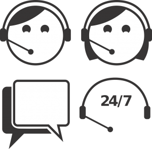 illustration of a two agents with a headset and 24/7 underneath with a conversation bubble next to it