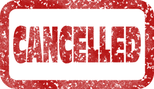 the word cancelled written in red with a red rectangular box around it