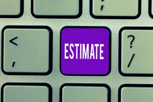 keyboard with a purple button that says estimate on it