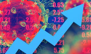 virus in the background with a blue arrow trending upwards