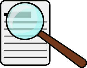 magnifying glass over a document