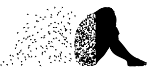 black silhouette of a person sitting with their knees to their chest and pieces of the back floating away