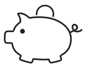 outline of a piggy bank with a coin going into it