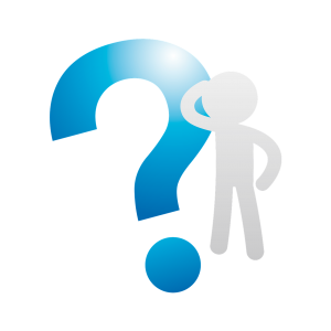 white silhouette of a person with a large blue question mark next to them