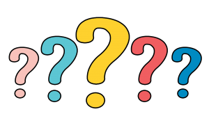 5 question marks in different colors