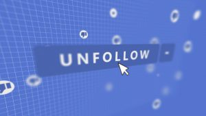 the word unfollow with a computer mouse over it