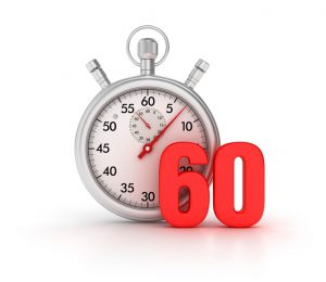a stopwatch with the number 60 in red in front of it