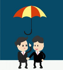 illustrationof two businessmen in suits shaking hands while standing under a yellow and red umbrella.