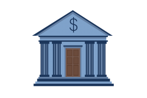 a building with pillars on both sides and a money symbol over the door.