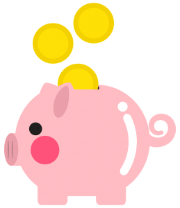 pink piggy bank with gold coins going into it