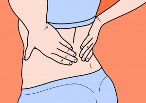 illustration of a woman in bra and underwear holding her back.