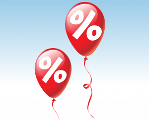 two red balloons with white discount signs in them
