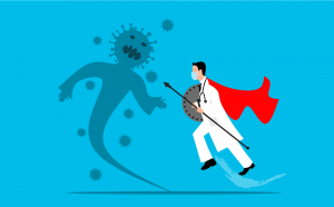 doctor with a red ape on and a spear going towards a virus with a body