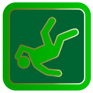 green sign with a person illustration falling down