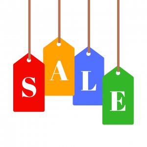 the word sale with each letter on a different colored tag