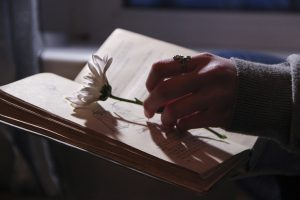 a person;s hand holding a flower with a book open underneath it