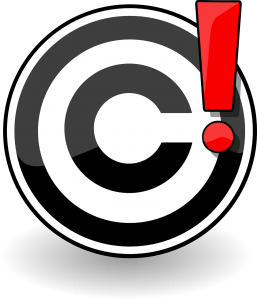copyright logo in black and white with a red exclamation point