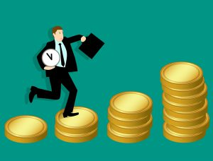 illustration of a man in a suit holding a clock going up piles of coins