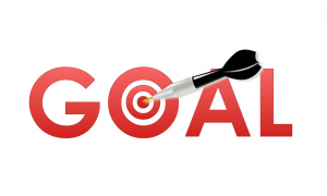 the word goal with a red bullseye as the O and a dart in the middle