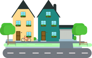 illustration of a neighborhood with 2 houses next to each other,