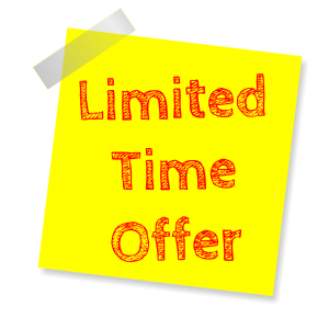 limited time offer written in red on a yellow post it note