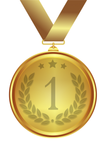 gold medal with the number one on the front