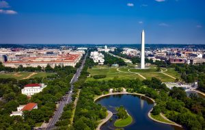 sky view of the city of Washington dc