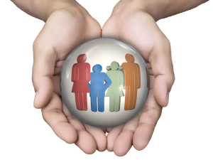 hands holding a bubble with different colored silhouettes of family members in the bubble