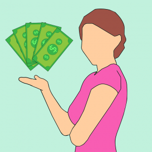 illustration of a woman holding her hand out with money over it