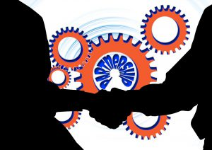 silhouette of people shaking hands with gears in the background and the word partnership