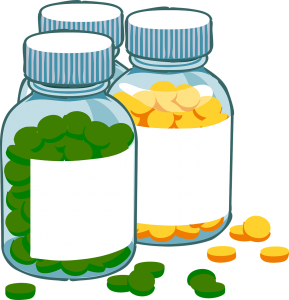 illustration of 3 bottles of medications, one with green pills and one yellow