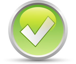 white check mark in a light green circle