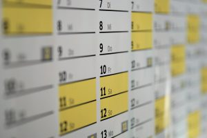 calendar with yellow highlighted times