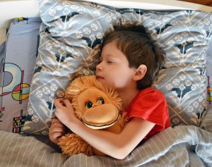 young caucasian boy sleeping while holding a stuffed monkey
