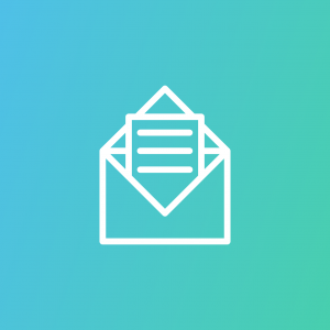 open email icon in white with a blue background