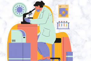 illustration of a woman in a lab coat looking through a microscope