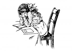 illustration of a girl sitting at a desk with her hands over her face