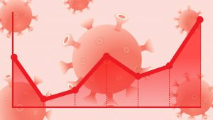 line graph with the line going upward and a red virus in the background
