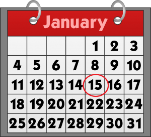 january calendar with the number 15 circled in red.